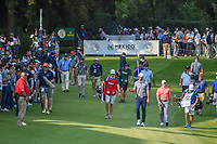Dustin Johnson (USA) waves to the crowd as he and Rory McIlroy (NIR) make their way down 17 during round 4 of the World Golf Championships, Mexico, Club De Golf Chapultepec, Mexico City, Mexico. 2/24/2019.<br /> Picture: Golffile | Ken Murray<br /> <br /> <br /> All photo usage must carry mandatory copyright credit (© Golffile | Ken Murray)