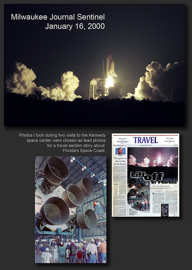 The Space Shuttle Atlantis launches to space early in the morning on September 16, 1996 on a mission to the space station Mir. Also shown is a Saturn V booster on display at the Cape Canaveral space museum in Florida. Ernie Mastroianni photo.