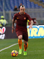 Roma&rsquo;s Radja Nainggolan in action during the Italian Serie A football match between Roma and Napoli at Rome's Olympic stadium, 4 March 2017. <br /> UPDATE IMAGES PRESS/Riccardo De Luca
