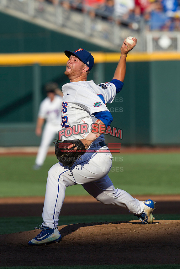 Florida Gators pitcher Logan Shore (32) delivers a pitch to the plate against the Coastal Carolina Chanticleers in Game 4 of the NCAA College World Series on June 19, 2016 at TD Ameritrade Park in Omaha, Nebraska. Coastal Carolina defeated Florida 2-1. (Andrew Woolley/Four Seam Images)