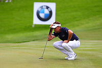 Ian Poulter eyes up his putt on the 17th green during the BMW PGA Golf Championship at Wentworth Golf Course, Wentworth Drive, Virginia Water, England on 27 May 2017. Photo by Steve McCarthy/PRiME Media Images.