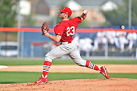 Johnson City Cardinals starting pitcher Landon Beck #23 delivers a pitch during a game against the Kingsport Mets at Hunter Wright Stadium August 24, 2014 in Kingsport, Tennessee. The Mets defeated the Cardinals 9-1. (Tony Farlow/Four Seam Images)