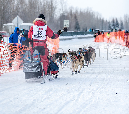 09.03.2015. Fairbanks, Alaska, USA.  Addison Illinois musher Charley Benja at the start of the 2015 Iditarod Sled Dog Race in Fairbanks, Alaska, 09 March, 2015.