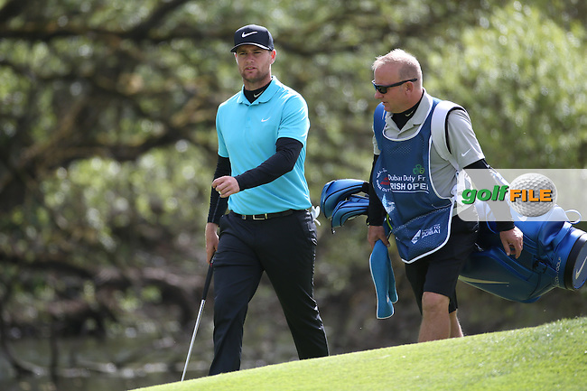 Lucas Bjerregaard (DEN)  with caddie Todd during Round One of the 2016 Dubai Duty Free Irish Open Hosted by The Rory Foundation which is played at the K Club Golf Resort, Straffan, Co. Kildare, Ireland. 19/05/2016. Picture Golffile | David Lloyd.<br /> <br /> All photo usage must display a mandatory copyright credit as: &copy; Golffile | David Lloyd.