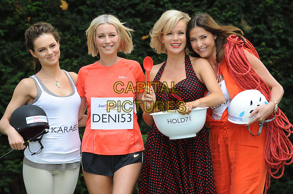 Kara Tointon, Denise Van Outen, Amanda Holden & Lisa Snowdon.Photocall for Vodafone JustTextGiving Charity Challenges, London, England..5th September 2011.half length black helmet grey gray halterneck trousers white tank top sleeveless shorts orange t-shirt dress rope polka dot bowl baking riding running climbing costume smiling.CAP/WIZ.© Wizard/Capital Pictures.