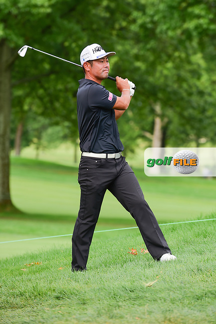 Hideto Tanihara (JAP) hits his approach shot from the rough on 9 during Sunday's final round of the World Golf Championships - Bridgestone Invitational, at the Firestone Country Club, Akron, Ohio. 8/6/2017.<br /> Picture: Golffile | Ken Murray<br /> <br /> <br /> All photo usage must carry mandatory copyright credit (&copy; Golffile | Ken Murray)