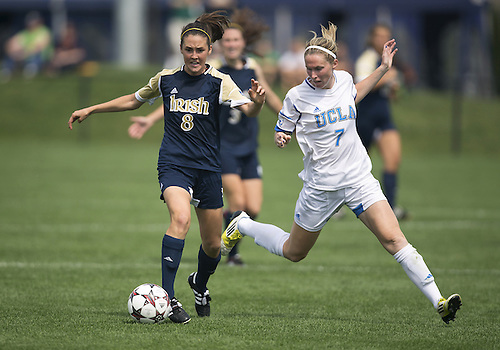 September 01, 2013:  Notre Dame midfielder Elizabeth Tucker (8) and UCLA midfielder Jenna Richmond (7) battle for the ball during NCAA Soccer match between the Notre Dame Fighting Irish and the UCLA Bruins at Alumni Stadium in South Bend, Indiana.  UCLA defeated Notre Dame 1-0.