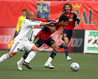 Joe Franchino gets a hand in the face from  Javier Morales in the Los Angeles Galaxy vs Real Salt Lake 2-2 draw at Rice Eccles Stadium in Salt Lake City, Utah on May 3, 2008