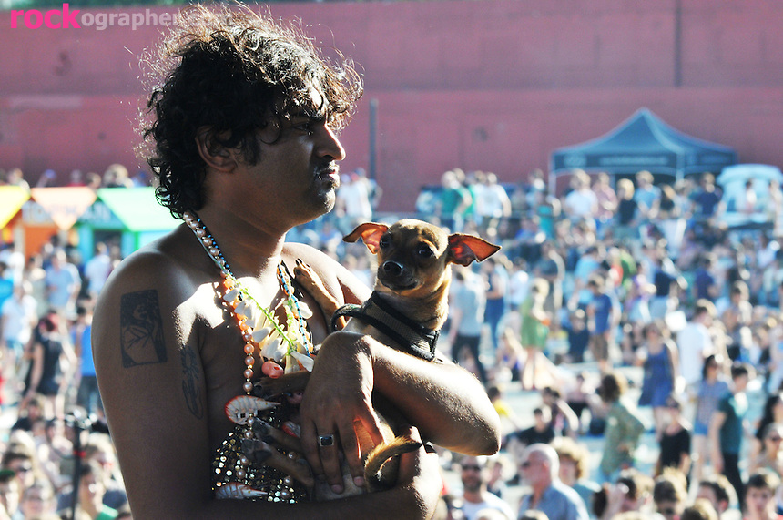King Khan with pet Chiwhawha on Stage at The Pool Parties Concert Series , McCarren Park, Brooklyn, NYC