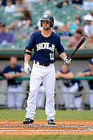 New Orleans Zephyrs outfielder Bryan Petersen #11 during a game against the Round Rock Express on April 15, 2013 at Zephyr Field in New Orleans, Louisiana.  New Orleans defeated Round Rock 3-2.  (Mike Janes/Four Seam Images)