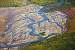 Aerial view of braided river on Katmai Peninsula; Salmon swim up this river to spawn; bears can be seen fishing at this river during salmon runs; Alaska