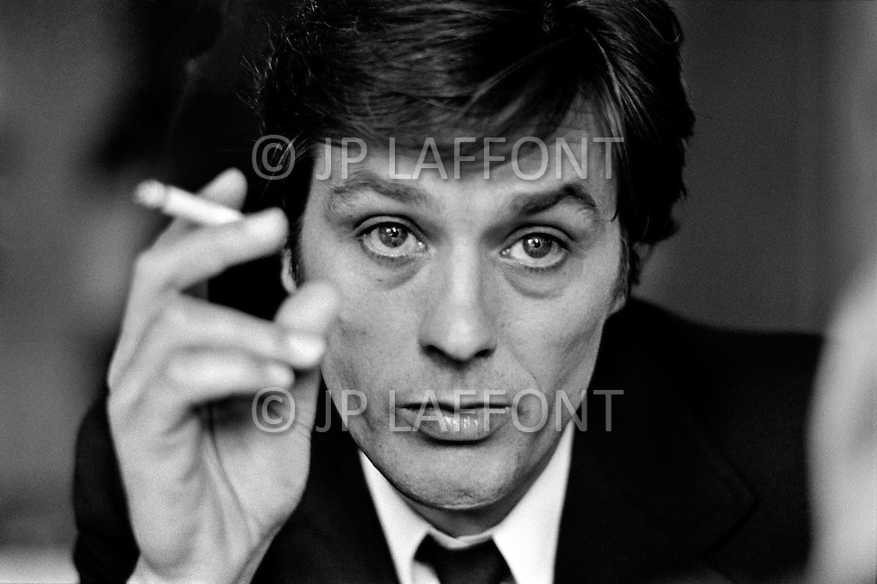 Washington DC, USA. June 6th 1972. French actor Alain Delon starring in Michael Winner's film Scorpio, shot in the Watergate building.