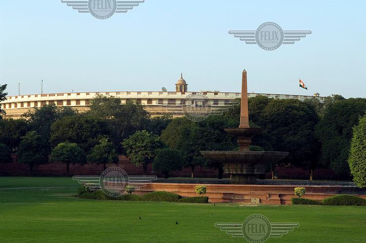 Parliament House, designed by British architect Edwin Lutyens along Rajpath, the ceremonial boulevard in Delhi.