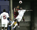 08 July 2007: Gambia's Paul Jatta (8) and Portugal's Feliciano Condesso (17) challenge for a header. Gambia's Under-20 Men's National Team defeated Portugal's Under-20 Men's National Team 2-1 in a Group C opening round match at Olympix Stadium in Montreal, Quebec, Canada during the FIFA U-20 World Cup Canada 2007 tournament.