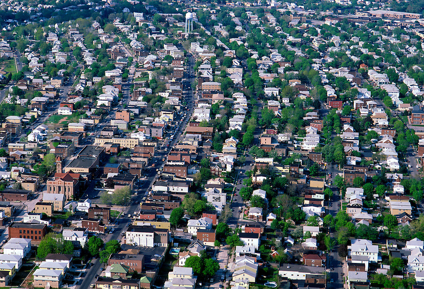 Aerial of a suburban community.