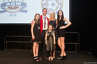 San Francisco, CA - Saturday Feb. 14, 2015: US Soccer player Brian McBride with his family after being inducted into the Hall of Fame at the 2014 US Soccer Hall of Fame Induction ceremony.