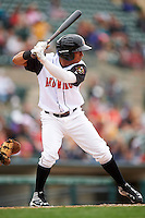 Rochester Red Wings shortstop Wilfredo Tovar (4) at bat during a game against the Toledo Mudhens on June 12, 2016 at Frontier Field in Rochester, New York.  Rochester defeated Toledo 9-7.  (Mike Janes/Four Seam Images)