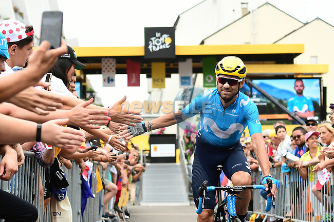 Alejandro Valverde (ESP) Movistar Team at sign on before the start of Stage 21 of the 2018 Tour de France running 116km from Houilles to Paris Champs-Elysees, France. 29th July 2018. <br /> Picture: ASO/Alex Broadway | Cyclefile<br /> All photos usage must carry mandatory copyright credit (© Cyclefile | ASO/Alex Broadway)