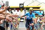 Alejandro Valverde (ESP) Movistar Team at sign on before the start of Stage 21 of the 2018 Tour de France running 116km from Houilles to Paris Champs-Elysees, France. 29th July 2018. <br /> Picture: ASO/Alex Broadway | Cyclefile<br /> All photos usage must carry mandatory copyright credit (&copy; Cyclefile | ASO/Alex Broadway)