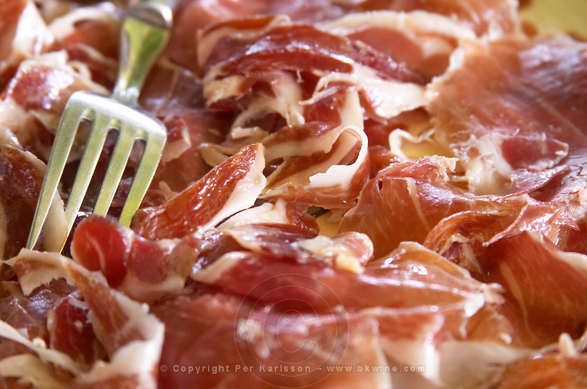 Domaine de Nidoleres. Roussillon. A plate of dry cured ham with a serving fork. France. Europe.