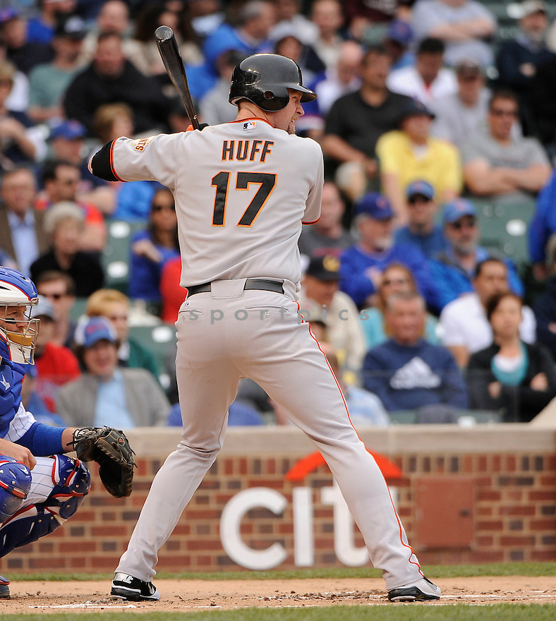 AUBREY HUFF, of the San Francisco Giants in action during the Giants game against the Chicago Cubs, on May 13, 2011 at Wrigley Field in Chicago, Illinois.  The Cubs beat the Giants 11-4.