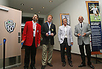 27 August 2006: Hall of Famer Marcelo Balboa, 2006 inductee Alexi Lalas, MLS player Chris Henderson, and MLS Commissioner Don Garber are on hand for the ribbon cutting ceremony for a new exhibit at the Hall of Fame commemorating the first ten years of the league's history. The President's Reception and Dinner were held at the National Soccer Hall of Fame in Oneonta, New York the evening before the 2006 Induction Ceremony.