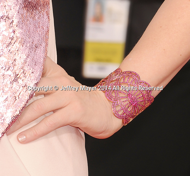 LOS ANGELES, CA- JANUARY 18: Actress Cate Blanchett (bracelet detail) at the 20th Annual Screen Actors Guild Awards at The Shrine Auditorium on January 18, 2014 in Los Angeles, California.