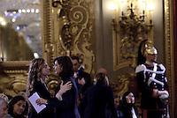 """Roma, 7 Marzo 2015<br /> Quirinale.<br /> Giornata internazionale dela donna, <br /> celebrazione dedicata al tema """"Donne per la Terra"""".<br /> Nella foto Marianna Madia e Laura Boldrini."""