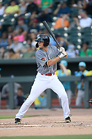 Third baseman Brian Sharp (7) of the Columbia Fireflies, playing as the Chicharrones de Columbia, bats in a game against the Charleston RiverDogs on Friday, July 12, 2019 at Segra Park in Columbia, South Carolina. The RiverDogs won, 4-3, in 10 innings. (Tom Priddy/Four Seam Images)