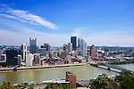 Scene of downtown Pittsburgh along the Monongahela River as viewed from Mt Washington.