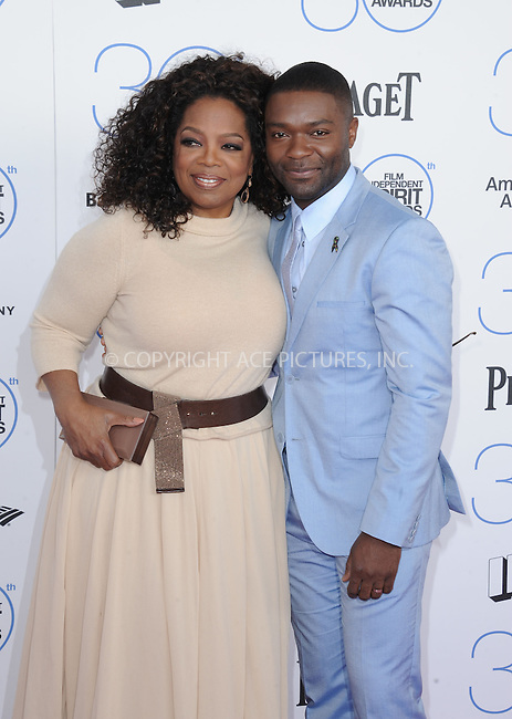WWW.ACEPIXS.COM<br /> <br /> February 21 2015, LA<br /> <br /> Oprah Winfrey and David Oyelowo arriving at the 2015 Film Independent Spirit Awards at Santa Monica Beach on February 21, 2015 in Santa Monica, California.<br /> <br /> By Line: Peter West/ACE Pictures<br /> <br /> <br /> ACE Pictures, Inc.<br /> tel: 646 769 0430<br /> Email: info@acepixs.com<br /> www.acepixs.com