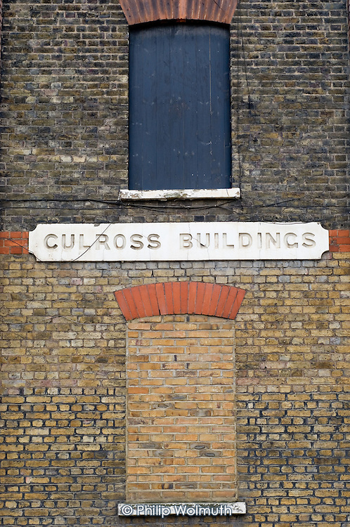 Culross Buildings in Kings Cross.  The Victorian tenement block has been bricked up and emptied of tenants during building work for the Channel Tunnel rail terminal at nearby St.Pancras station.