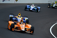 Verizon IndyCar Series<br /> Indianapolis 500 Race<br /> Indianapolis Motor Speedway, Indianapolis, IN USA<br /> Sunday 28 May 2017<br /> Fernando Alonso, McLaren-Honda-Andretti Honda, Alexander Rossi, Andretti Herta Autosport with Curb-Agajanian Honda, Takuma Sato, Andretti Autosport Honda<br /> World Copyright: F. Peirce Williams<br /> LAT Images