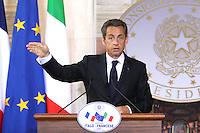 NICOLAS SARKOZY.Roma 26/04/2011 Vertice Italo-Francese a Villa Madama. Italian-French Summit..Photo Samantha Zucchi Insidefoto