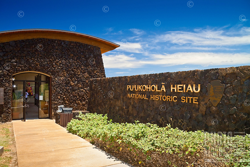 The visitor center entrance at Pu'ukohola Heiau National Historic Site, Kawaihae, Kohala, Big Island.