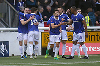 Oldham celebrate their opening goal during Maidstone United vs Oldham Athletic, Emirates FA Cup Football at the Gallagher Stadium on 1st December 2018