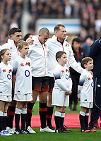 George Ford, Mike Brown and Dylan Hartley of England look on prior to the match. Old Mutual Wealth Series International match between England and Argentina on November 11, 2017 at Twickenham Stadium in London, England. Photo by: Patrick Khachfe / Onside Images