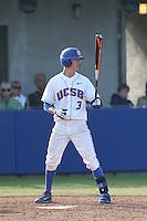 Clay Fisher (3) of the UC Santa Barbara Gauchos bats during a game against the Kentucky Wildcats at Caesar Uyesaka Stadium on March 20, 2015 in Santa Barbara, California. UC Santa Barbara defeated Kentucky, 10-3. (Larry Goren/Four Seam Images)