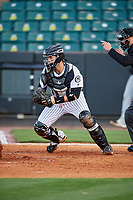 Jackson Generals catcher Oscar Hernandez (28) during a game against the Chattanooga Lookouts on April 27, 2017 at The Ballpark at Jackson in Jackson, Tennessee.  Chattanooga defeated Jackson 5-4.  (Mike Janes/Four Seam Images)