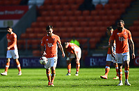 The Blackpool players look dejected after conceding a third goal <br /> <br /> Photographer Richard Martin-Roberts/CameraSport<br /> <br /> The EFL Sky Bet League Two - Blackpool v Grimsby Town - Saturday 8th April 2017 - Bloomfield Road - Blackpool<br /> <br /> World Copyright &copy; 2017 CameraSport. All rights reserved. 43 Linden Ave. Countesthorpe. Leicester. England. LE8 5PG - Tel: +44 (0) 116 277 4147 - admin@camerasport.com - www.camerasport.com