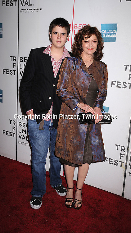 """Miles Robbins and mother Susan Sarandon..arriving at The Tribeca Film Festival's  screening of """"Speed Racer'  on May 3, 2008 at Borough of Manhattan Community College/TPAC in New York City. ....Robin Platzer, Twin Images"""