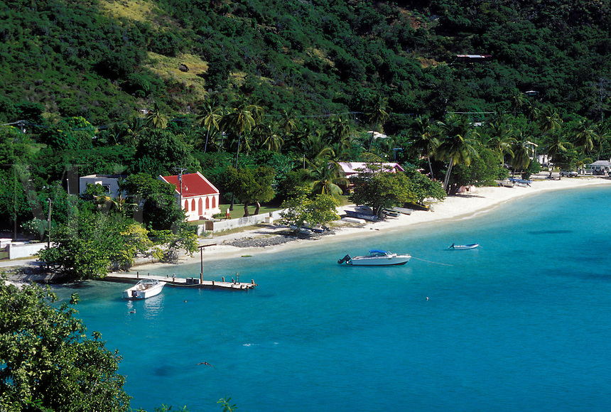 Caribbean, Jost Van Dyke, British Virgin Islands, BVI, Scenic view of Great Harbor on Jost Van Dyke Island on the Caribbean Sea.