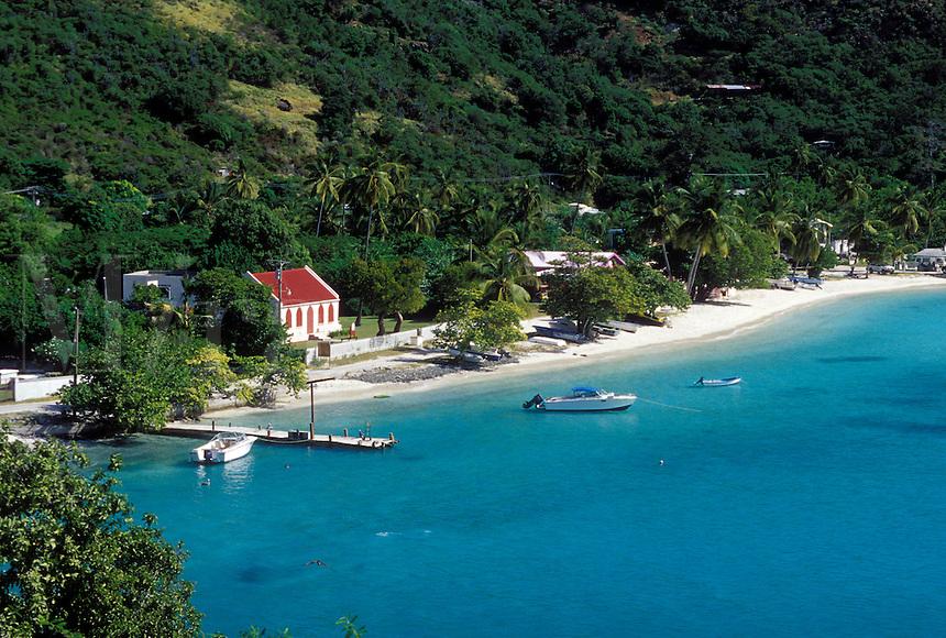 Caribbean, Jost Van Dyke, British Virgin Islands, BVI, Scenic view of Great Harbor on Jost Van Dyke Island on the Caribbean Sea.