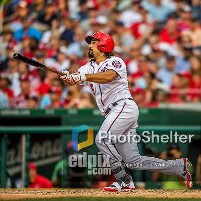 29 June 2017: Washington Nationals third baseman Anthony Rendon hits a two-run homer in the 7th inning, giving the Nationals a 3-2 lead against the Chicago Cubs at Nationals Park in Washington, DC. The Cubs rallied against the Nationals to win 5-4 and split their 4-game series. Mandatory Credit: Ed Wolfstein Photo *** RAW (NEF) Image File Available ***
