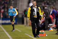 Columbus Crew head coach Robert Warzycha working the sideline. Chivas USA and Columbus Crew played to a 0-0 tie at Home Depot Center stadium in Carson, California on  April  9, 2011....
