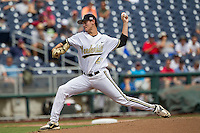 Vanderbilt Commodores pitcher John Kilichowski (21) delivers a pitch to the plate during the NCAA College baseball World Series against the Cal State Fullerton Titans on June 15, 2015 at TD Ameritrade Park in Omaha, Nebraska. Vanderbilt beat Cal State Fullerton 4-3. (Andrew Woolley/Four Seam Images)
