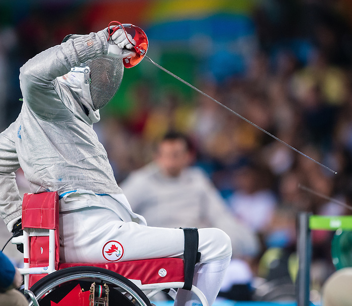 RIO DE JANEIRO - 12/09/2016 Pierre Mainville competes in the Men's Wheelchair Fencing Individual Sabre Category B Preliminary at the Rio 2016 Paralympic Games at the Carioca Arena 3. (Photo by Angela Burger/Canadian Paralympic Committee)