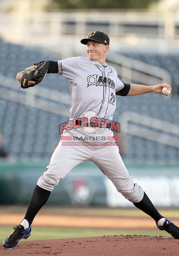 Mike Montgomery #22 of the Omaha Storm Chasers pitches in a Pacific Coast League game against the Albuquerque Isotopes at Isotopes Park on May 4, 2011  in Albuquerque, New Mexico. .Photo by:  Bill Mitchell/Four Seam Images.