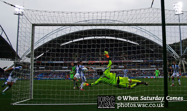 Huddersfield Town 1 Wolverhampton Wanderers 0, 27/08/2016. John Smith's Stadium, Championship. Danny Ward of Huddersfield Town saves a goal bound header from Jón Daði Böðvarsson of Wolverhampton Wanderers. Photo by Paul Thompson.