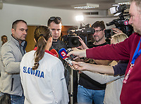 Bratislava, Slovenia, April 21, 2017,  FedCup: Slovakia-Netherlands, Draw ceremony, interview with Jana Cepelova (SVK)<br /> Photo: Tennisimages/Henk Koster